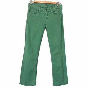 7 For All Mankind Green Crop Flare Jeans, size 28